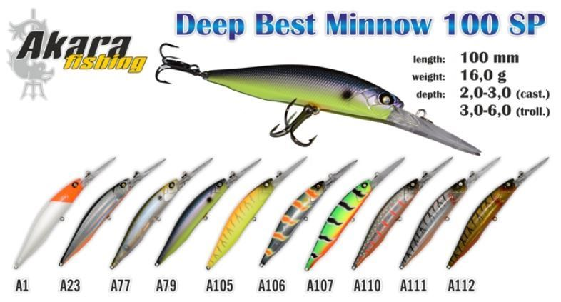 Vobleris Akara Deep Best Minnow 100 SP