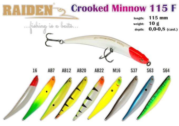 Vobleris RAIDEN «Crooked Minnow» 115 F