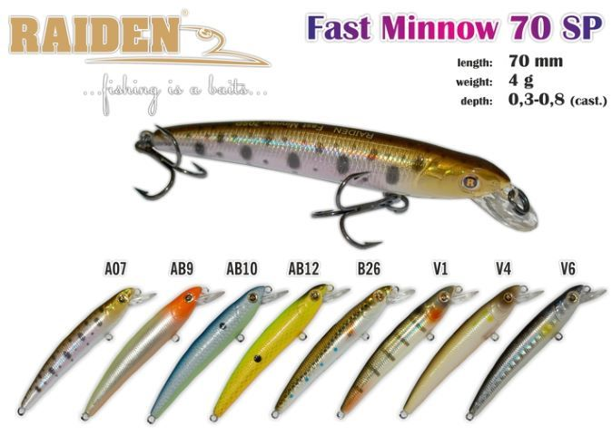 Vobleris RAIDEN «Fast Minnow» 70 SP