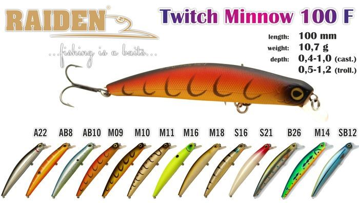Vobleris RAIDEN «Twitch Minnow» 100 F