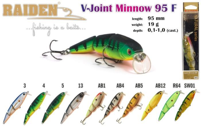 Vobleris RAIDEN «V-Joint Minnow» 95 F